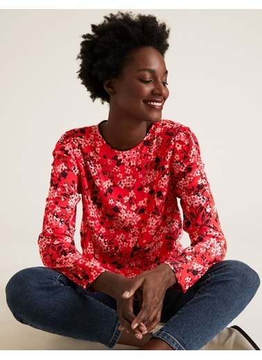 Marks & Spencer Çiçek Desenli Kolları Büzgülü Bluz Kırmızı